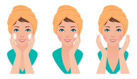 Set girl skin care face washing and application of the cream Royalty Free Stock Image