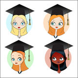 Set girl in the square academic cap. Set girls of different nationalities in the square academic cap. Vector illustration Stock Photography