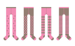 Set of girl tights with different designs. Set of tights with different designs for girl Stock Image