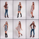 Set of girl  in various clothes Royalty Free Stock Photo