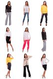 Set of girl  in various clothes Royalty Free Stock Image