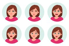 Set of girl/woman facial emotions. Different female emotions set. Woman emoji character with different expressions. Human emotion. stock illustration