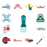 Set of girls bathroom, vape, black panthers, squirrel, boar, nerd, 30 anniversary, camper, skull and crossbones icons. Set Of 13 simple  icons such as girls Stock Photos