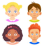 Set of girls and boy character. Children emotions. Facial expression. Set of emoticons. Flat  illustration Royalty Free Stock Photos
