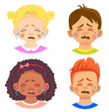 Set of girls and boy character. Children emotions. Facial expression. Set of emoticons. Flat  illustration. Cry Stock Photography