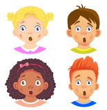 Set of girls and boy character. Children emotions. Facial expression. Set of emoticons. Flat  illustration. Shock Royalty Free Stock Photos