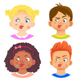 Set of girls and boy character. Children emotions. Facial expression. Set of emoticons. Flat  illustration. Tongue Royalty Free Stock Images