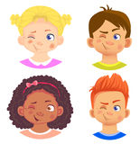Set of girls and boy character. Children emotions. Facial expression. Set of emoticons. Flat  illustration. Wink Royalty Free Stock Image
