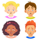 Set of girls and boy character. Children emotions. Facial expression. Set of emoticons. Sad Stock Photos