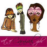 Set of girls with carnival masks Royalty Free Stock Images