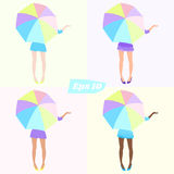 Set of girls with colorful umbrellas. Different dresses and different shades of skin Stock Images