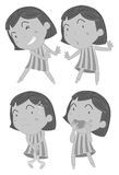 Set of girls in different actions Royalty Free Stock Image