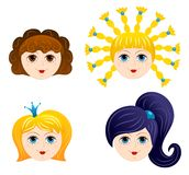 Set of girls faces 1. Cartoon illustration Royalty Free Stock Images
