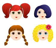Set of girls faces 2 Stock Image