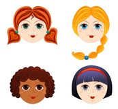 Set of girls faces 3. Cartoon illustration Stock Photography
