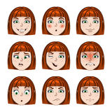 Set of girls faces emotions Stock Photography