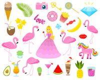 Set of girls fashion cute patches, fun stickers, badges, pins and stickers. Collection different elements. Princess and. Flamingos, unicorn, milkshakes, candy Stock Photo