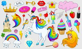 Set of girls fashion cute patches, fun stickers, badges and pins. Collection different elements. Princess and unicorn. Lips and ponies, rainbow and sweets Royalty Free Stock Photos