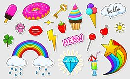 Set of girls fashion cute patches, fun stickers, badges and pins. Collection different elements. Princess and unicorn. Lips and ponies, rainbow and sweets Royalty Free Stock Images