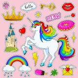 Set of girls fashion cute patches, fun stickers, badges and pins. Collection different elements. Unicorn lips and ponies. Rainbow and sweets for Princess Royalty Free Stock Photography