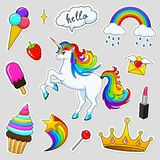 Set of girls fashion cute patches, fun stickers, badges and pins. Collection different elements. Unicorn lips and ponies. Rainbow and sweets for Princess Royalty Free Stock Photos