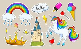 Set of girls fashion cute patches, fun stickers, badges and pins. Collection different elements. Unicorn lips and ponies. Rainbow and sweets for Princess Stock Images