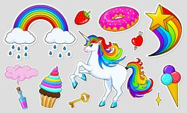 Set of girls fashion cute patches, fun stickers, badges and pins. Collection different elements. Unicorn lips and ponies. Rainbow and sweets for Princess Royalty Free Stock Image