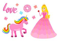Set of girls fashion cute patches, fun stickers, badges, pins and stickers. Collection different elements. Princess and. Flamingos, unicorn, milkshakes, candy Royalty Free Stock Images