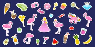 Set of girls fashion cute patches, fun stickers, badges, pins and stickers. Collection different elements. Princess and. Flamingos, unicorn, milkshakes, candy Royalty Free Stock Photography