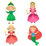 Set of girls in Christmas costumes cute veils stock illustration