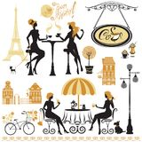 Set of girls silhouettes, Illustration of two young women drinki. Ng coffee and chatting on Paris street cafe. Elements for restaurant, bar menu design Stock Photo