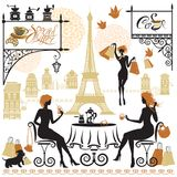 Set of girls silhouettes, Illustration of two young women drinki. Ng coffee after a day of shopping in Paris. Elements for cafe, restaurant, bar menu design Stock Photo