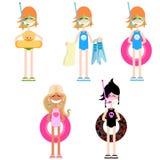 Set of girls. Summer Royalty Free Stock Image