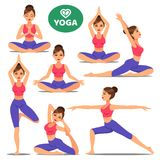 Set of girls in various poses of yoga. Woman yoga poses training Royalty Free Stock Image