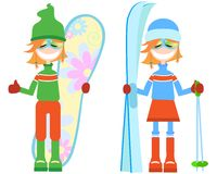 Set of girls. Winter Stock Photography