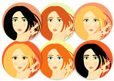 Set of girls, women icon. vector illustration Stock Image