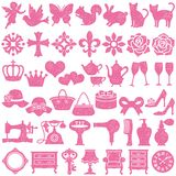 Set of girly icons. stamp set. Set of female icons. vector illustration Royalty Free Stock Images