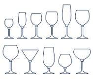 Set Gläser für alkoholische Getränke Lizenzfreies Stockbild