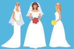 Set glückliche Bräute Lizenzfreies Stockfoto