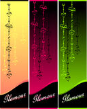 Set Glamour banners with hearts and flowers Royalty Free Stock Photos