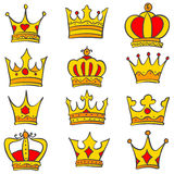 Set of glamour crown doodle. Vector art Stock Image