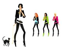 Set of glamour girls. Set of beautiful fashionable glamour girls with a cat Stock Illustration