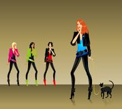 Set of glamour girls. Set of beautiful fashionable glamour girls with a cat Royalty Free Illustration