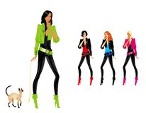 Set of glamour girls. Set of beautiful fashionable glamour girls with a cat Vector Illustration