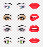 Set of glamour lips with pink lipstick color Stock Images