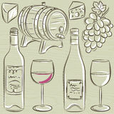 Set of glases and bottles for wine, vector Stock Photography