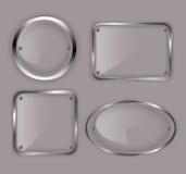 Set Glasplatten im Metall gestaltet Abbildung vektor abbildung