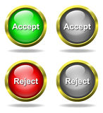 Set of glass Accept - Reject buttons. In golden rims Royalty Free Stock Image