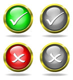 Set of glass Accept - Reject buttons Stock Photography
