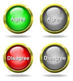 Set of glass Agree - Disagree buttons. In golden rims royalty free illustration